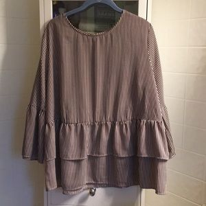 Brown and white striped peplum blouse